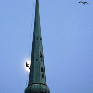 Sv. Petera baznīcas gaiļa demontāža
